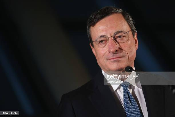 Mario Draghi President of the European Central Bank speaks to the media at the Bundestag after he spoke to German parliamentarians on October 24 2012...