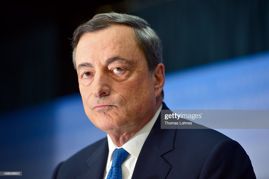 <a gi-track='captionPersonalityLinkClicked' href=/galleries/search?phrase=Mario+Draghi&family=editorial&specificpeople=571678 ng-click='$event.stopPropagation()'>Mario Draghi</a>, President of the European Central Bank, speaks to the media following the monthly ECB board meeting on November 6, 2014 in Frankfurt, Germany. This is the last press conference Draghi will hold as the ECB is in the process of moving into its newly-built headquarters away from the central banking district in Frankfurt.