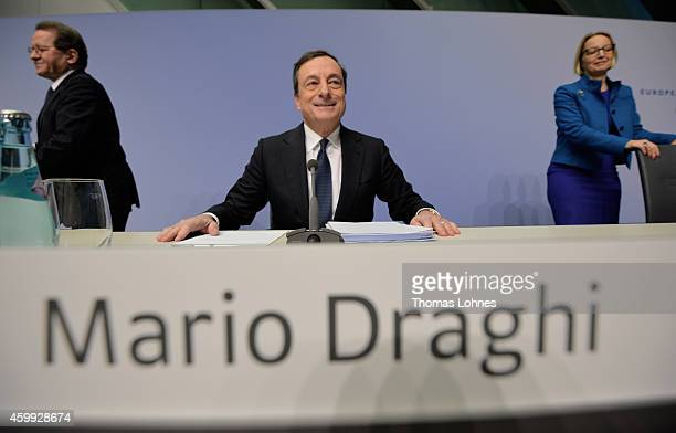 Mario Draghi President of the European Central Bank vice president Vitor Constancio and Christine Graeff holds today his first press conference...
