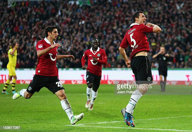 Mario Eggimann of Hannover celebrates after scoring an irregular goal during the Bundesliga match between Hannover 96 and Borussia Dortmund at AWD...