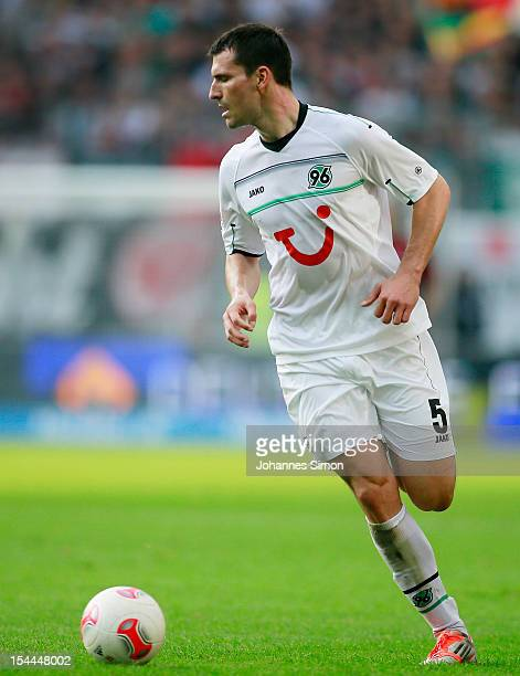 Mario Eggimann of Hannover in action during the Bundesliga match between Eintracht Frankfurt and Hannover 96 at Commerzbank Arena on October 21 2012...