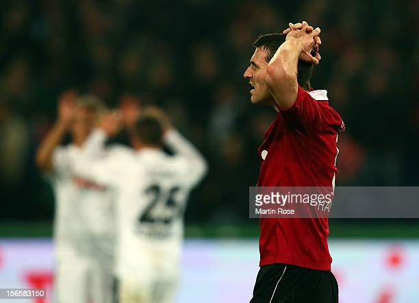 Mario Eggimann of Hannover looks dejected after the Bundesliga match between Hannover 96 and SC Freiburg at AWD Arena on November 17 2012 in Hannover...