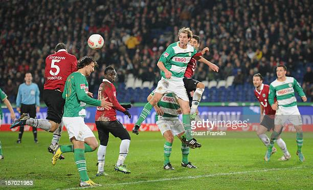 Mario Eggimann of Hannover scores the second goal during the Bundesliga match between Hannover 96 and SpVgg Greuther Fuerth at AWD Arena on November...