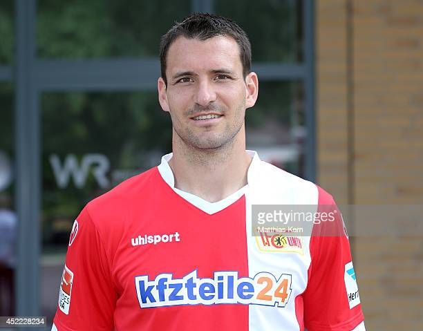 Mario Eggimann poses during the 1FC Union Berlin team presentation at Stadion an der Alten Foersterei on July 16 2014 in Berlin Germany