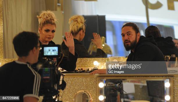 Mario Falcone and Chloe Sims seen filming TOWIE in Brentwood on March 2 2017 in London England