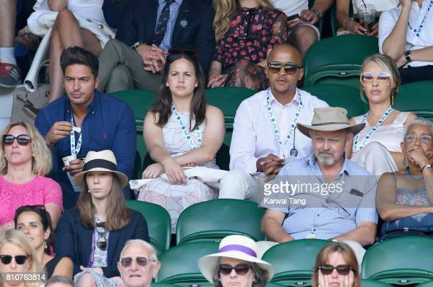 Mario Falcone Giovanna Fletcher Richard James Sutton and Katie Piper attend day six of the Wimbledon Tennis Championships at the All England Lawn...