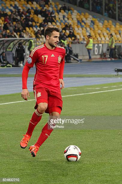Mario Gaspar of Spain in action during the European Qualifiers 2016 match between Ukraine and Spain national teams at NSK Olimpiyskyi Stadium in Kyiv...
