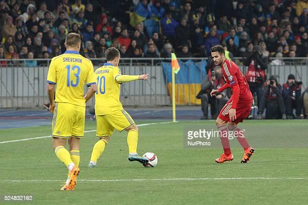 Mario Gaspar of Spain national team vies with Yevhen Konoplyanka of Ukraine during the European Qualifiers 2016 match between Ukraine and Spain...
