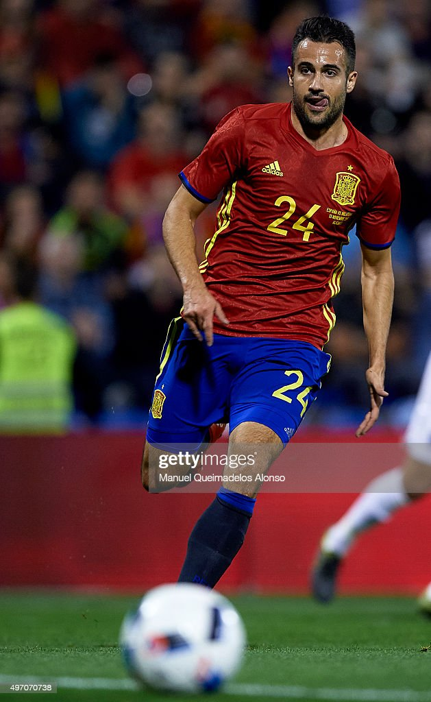Mario Gaspar of Spain runs with the ball during the international friendly match between Spain and England at Jose Rico Perez Stadium on November 13, 2015 in Alicante, Spain.