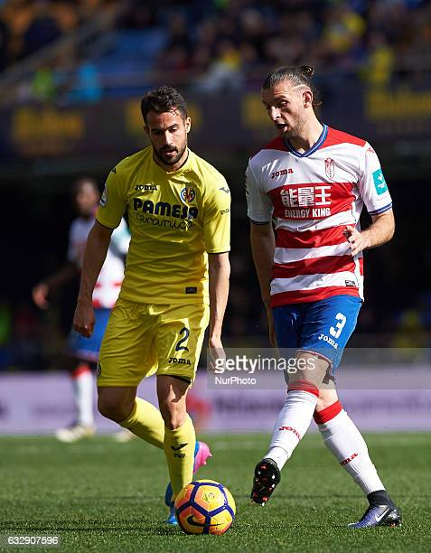 Mario Gaspar of Villarreal CF and Gaston Silva of Granada CF during their La Liga match between Villarreal CF and Granada CF at the Estadio de la...