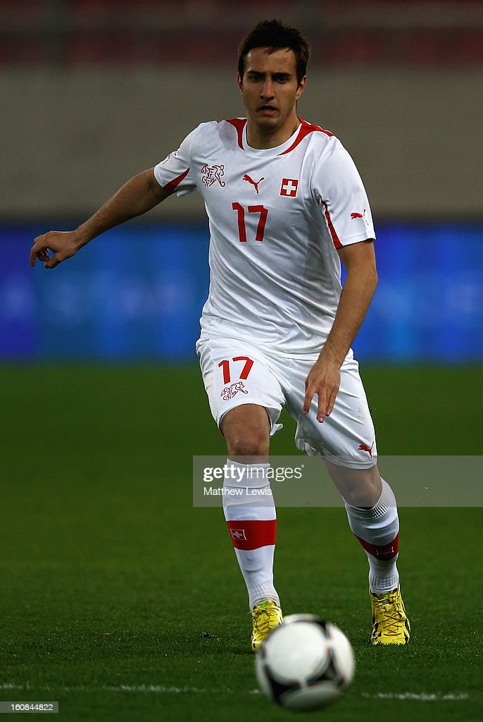 Mario Gavranovic of Switzerland in action during the International Friendly match between Greece and Switzerland at Karaiskakis Stadium on February 6, 2013 in Athens, Greece.