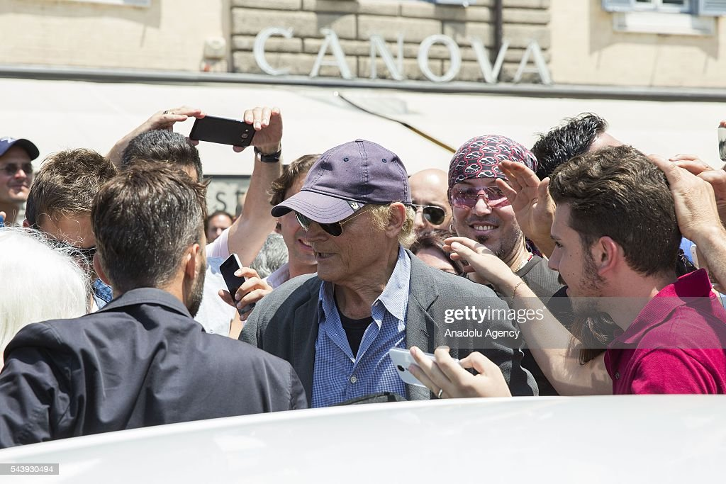 Mario Girotti also know as Terence Hill attends the funeral ceremony of Italian actor Carlo Pedersoli also known as Bud Spencer outside the Santa Maria in Montesanto at Piazza del Popolo in Rome, Italy, 30 June 2016.