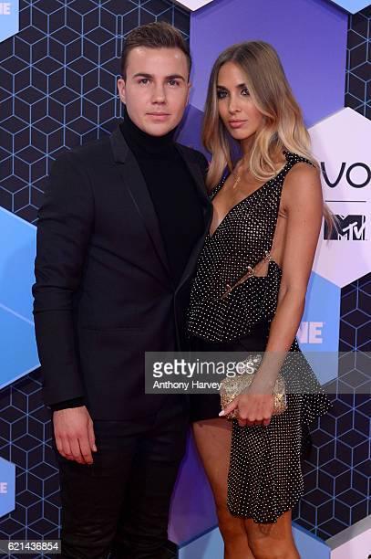 Mario Goetze and AnnKathrin Broemmel attend the MTV Europe Music Awards 2016 on November 6 2016 in Rotterdam Netherlands