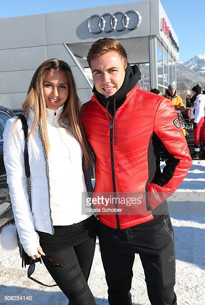 Mario Goetze and his girlfriend model AnnKathrin Broemmel attend the Audi driving experience during the Audi Hahnenkamm race weekend on January 22...