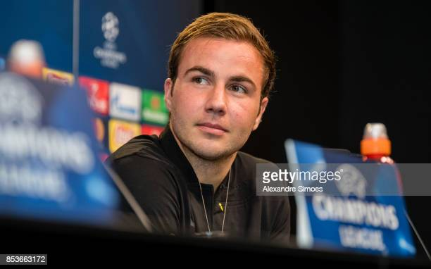 Mario Goetze attends a Borussia Dortmund press conference on the eve of the UEFA Champions League group H match against Real Madrid at Signal Iduna...
