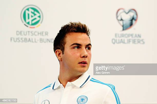 Mario Goetze attends a Germany press conference at CommerzbankArena on September 3 2015 in Frankfurt am Main Germany