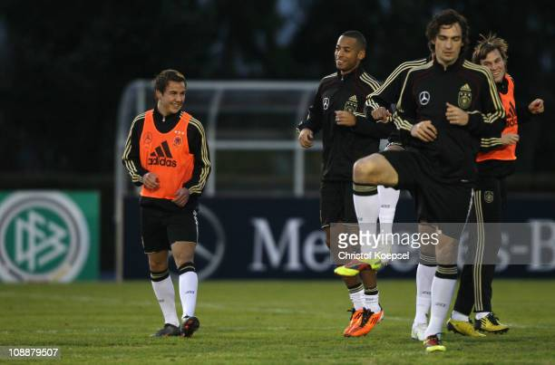 Mario Goetze Dennis Aogo Mats Hummels and Kevin Grosskreutz attend the DFB training session at the training ground of the Sporting school Kaiserau on...