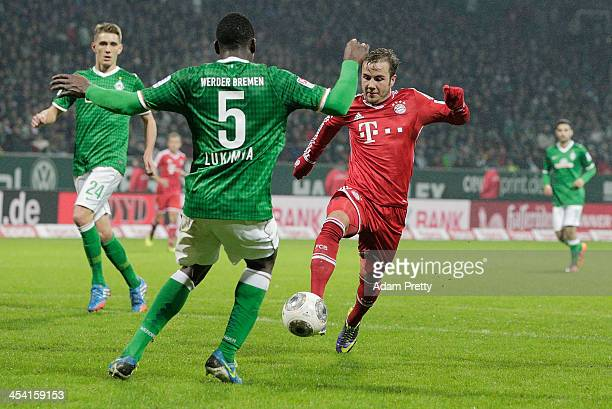 Mario Goetze of Bayern in action during the Bundesliga match between Werder Bremen and FC Bayern Muenchen at Weserstadion on December 7 2013 in...