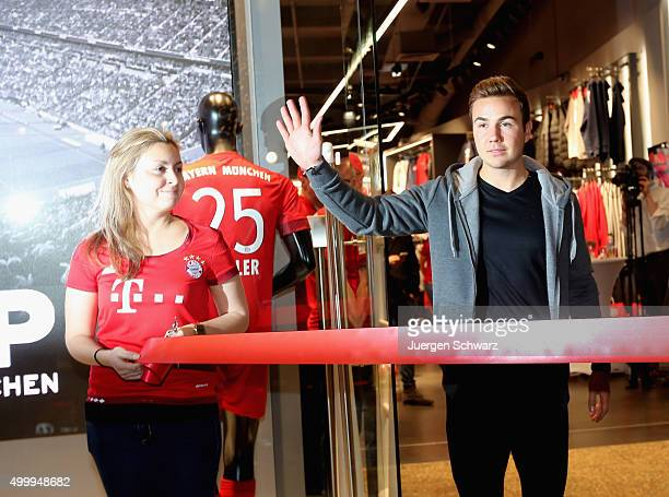 Mario Goetze of Bayern Muenchen waves to supporters during the opening of a Bayern Munich fan shop at CentrO mall on December 4 2015 in Oberhausen...