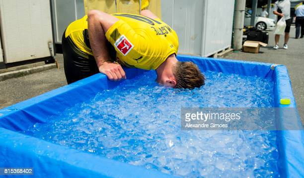 Mario Goetze of Borussia Dortmund is cooling down in the ice bath after a training session on July 16 2017 in Tokyo Japan