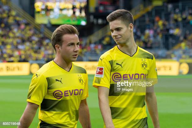 Mario Goetze of Dortmund and Julian Weigl of Dortmund looks on during the Borussia Dortmund Season Opening 2017/18 at Signal Iduna Park on August 4...