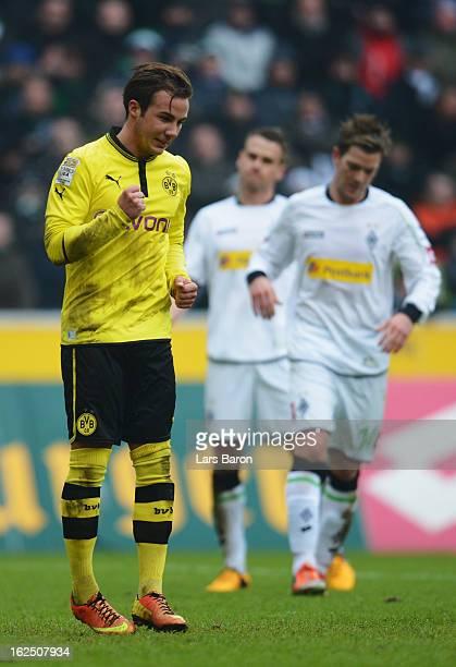 Mario Goetze of Dortmund celebrates after scoring his teams first goal during the Bundesliga match between VfL Borussia Moenchengladbach and Borussia...