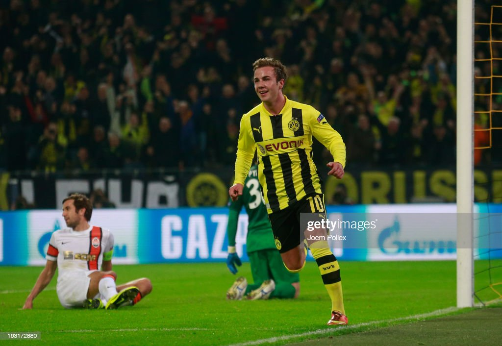 Mario Goetze of Dortmund celebrates after scoring his team's second goal during the UEFA Champions League round of 16 leg match between Borussia Dortmund and Shakhtar Donetsk at Signal Iduna Park on March 5, 2013 in Dortmund, Germany.