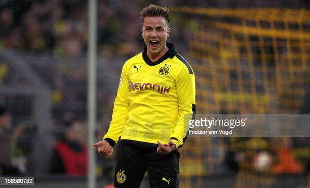 Mario Goetze of Dortmund celebrates scoring the third goal during the Bundesliga match between Borussia Dortmund and SpVgg Greuther Fuerth at Signal...