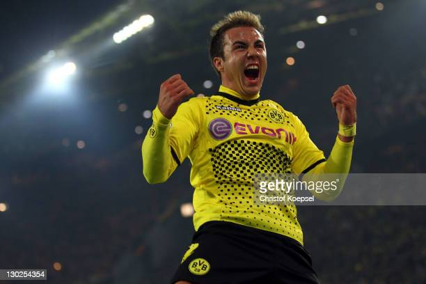 Mario Goetze of Dortmund celebrates the second goal during the second round DFB Cup match between Borussia Dortmund and Dynamo Dresden at SignalIduna...