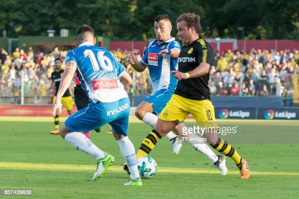 Mario Goetze of Dortmund controls the ball during a friendly match between Espanyol Barcelona and Borussia Dortmund as part of the training camp on...