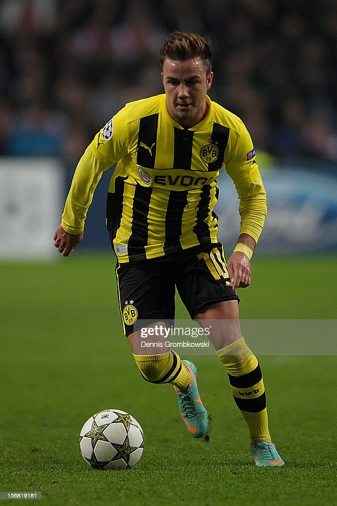 Mario Goetze of Dortmund controls the ball during the UEFA Champions League Group D match between Ajax Amsterdam and Borussia Dortmund at Amsterdam Arena on November 21, 2012 in Amsterdam, Netherlands.