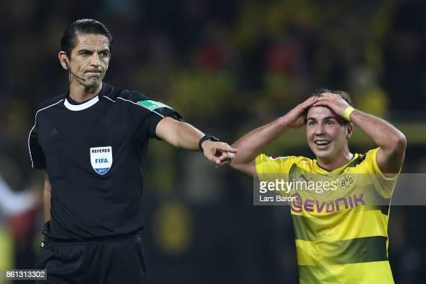Mario Goetze of Dortmund looks shocked after a decision by referee Deniz Aytekin during the Bundesliga match between Borussia Dortmund and RB Leipzig...