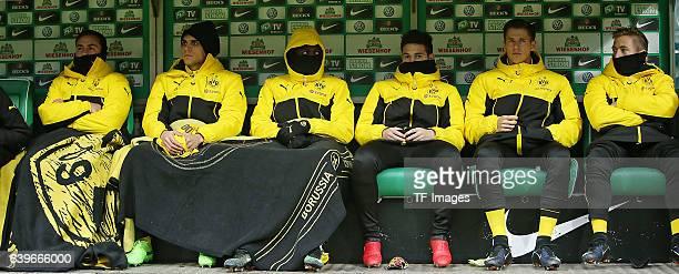 Mario Goetze of Dortmund Marc Bartra Aregall of Dortmund Ousmane Dembele of Dortmund Raphael Guerreiro of Dortmund Erik Durm of Dortmund and Felix...