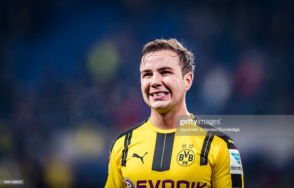 Mario Goetze of Dortmund reacts during the Bundesliga match between TSG 1899 Hoffenheim and Borussia Dortmund at Wirsol Rhein-Neckar-Arena on December 16, 2016 in Sinsheim, Germany.