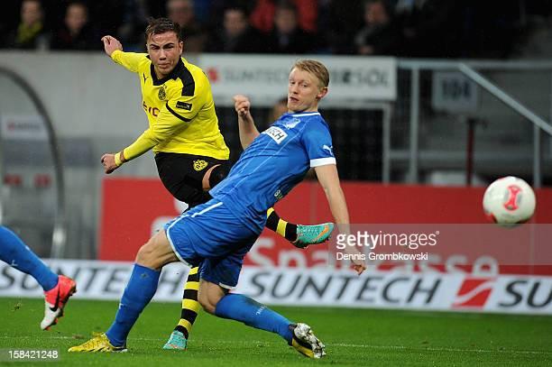 Mario Goetze of Dortmund scores during the Bundesliga match between TSG 1899 Hoffenheim and Borussia Dortmund at RheinNeckarArena on December 16 2012...