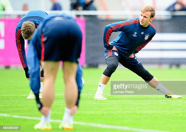Mario Goetze of FC Bayern Muenchen and his teammates in action during a training session ahead of their UEFA Champions League quarterfinal second leg...