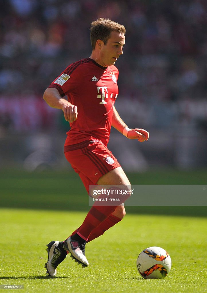 Mario Goetze of FC Bayern Muenchen in action during the Bundesliga match between FC Bayern Muenchen and Borussia Moenchengladbach at Allianz Arena on April 30, 2016 in Munich, Germany.