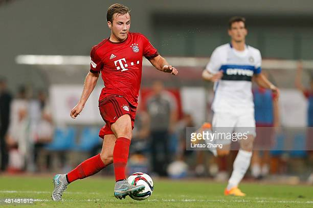 Mario Goetze of FC Bayern Muenchen in action during the international friendly match between FC Bayern Muenchen and Inter Milan of the Audi Football...