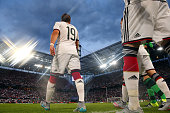 Mario Goetze of Germany enters the field with his team mates for the international friendly match between Germany and USA at RheinEnergieStadion on...