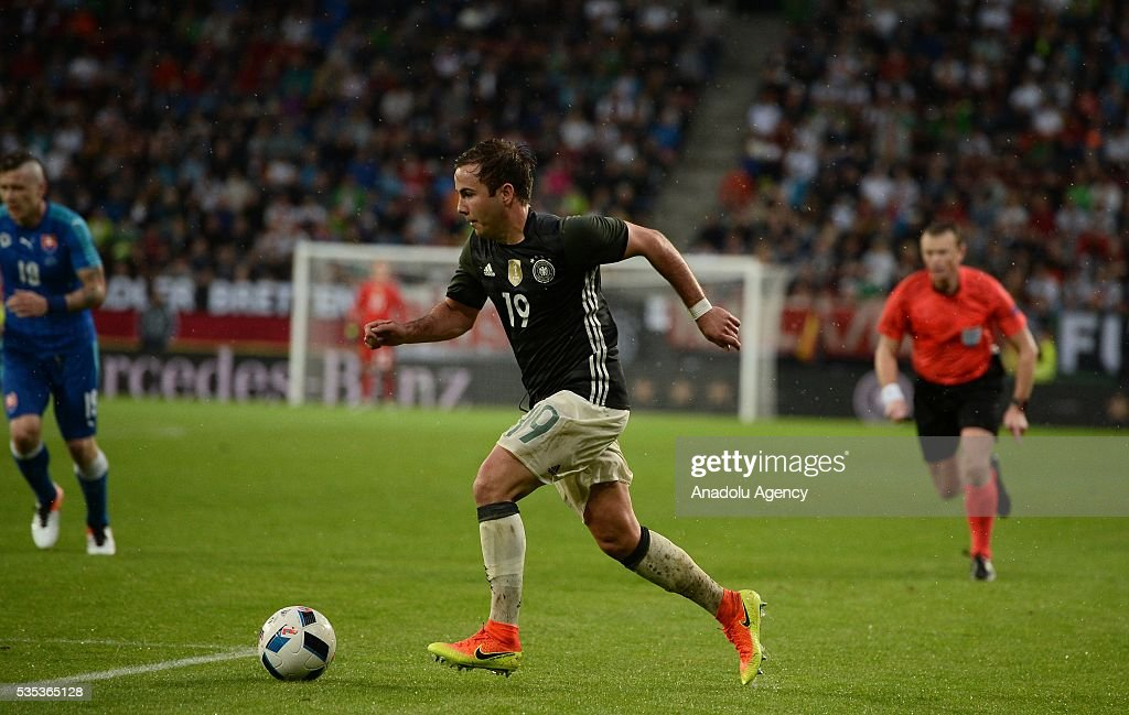 Mario Goetze of Germany in action during the friendly football match between Germany and Slovakia at the WWK Arena in Augsburg, Germany on May 29, 2016.