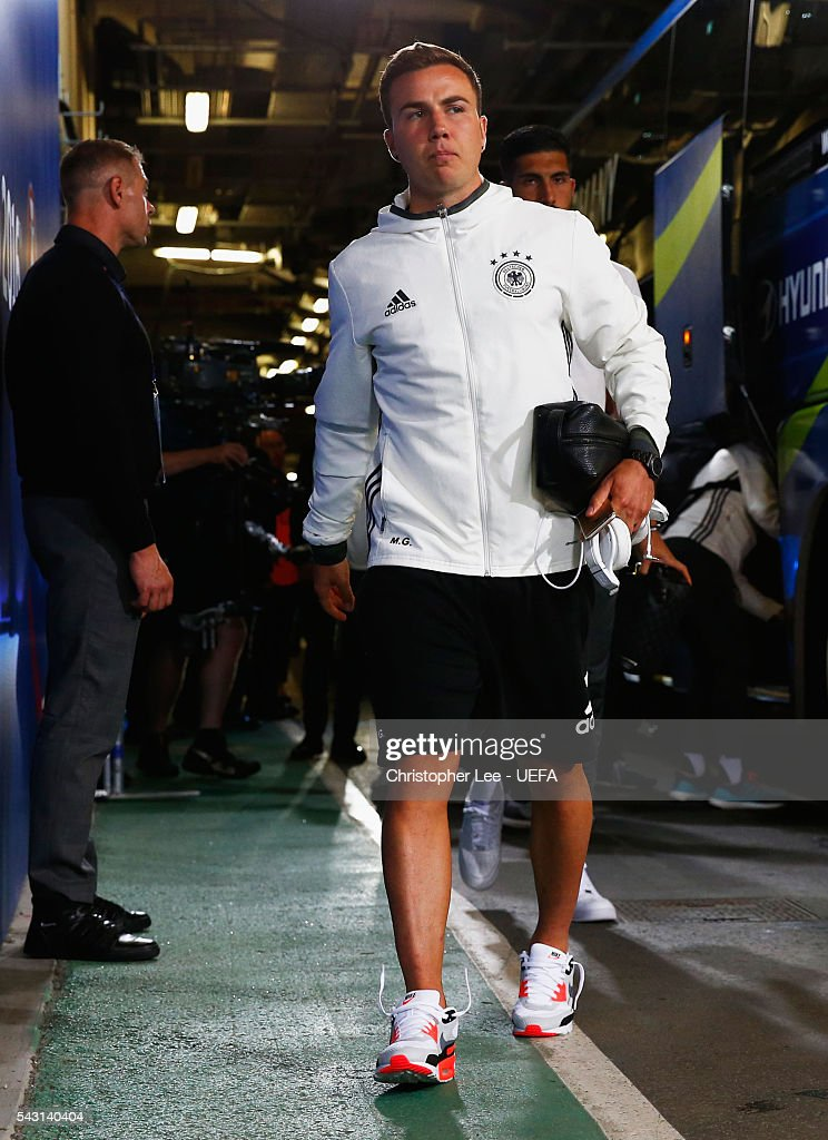 <a gi-track='captionPersonalityLinkClicked' href=/galleries/search?phrase=Mario+Goetze&family=editorial&specificpeople=4251202 ng-click='$event.stopPropagation()'>Mario Goetze</a> of Germany is seen on arrival at the stadium prior to the UEFA EURO 2016 round of 16 match between Germany and Slovakia at Stade Pierre-Mauroy on June 26, 2016 in Lille, France.
