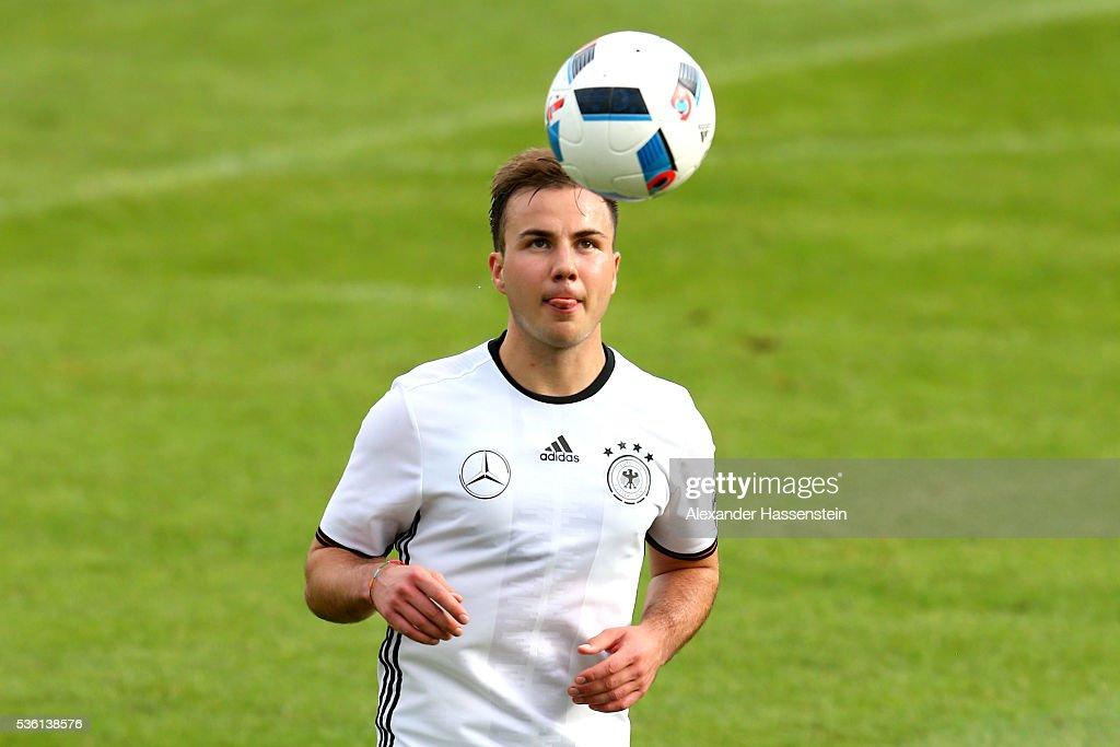 Mario Goetze of Germany plays the ball during a training session at Stadio communale on day 8 of the German national team trainings camp on May 31, 2016 in Ascona, Switzerland.