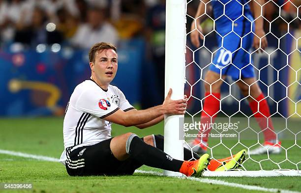 Mario Goetze of Germany reacts as he sits on the turf during the UEFA EURO semi final match between Germany and France at Stade Velodrome on July 7...