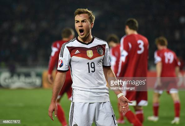 Mario Goetze of Germany reacts during the EURO 2016 Group D Qualifier match between Georgia and Germany at Boris Paichadze Stadium on March 29 2015...