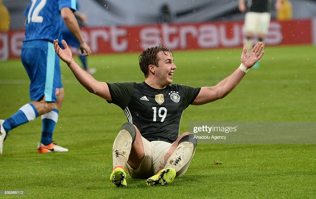 Mario Goetze of Germany reacts during the friendly football match between Germany and Slovakia at the WWK Arena in Augsburg, Germany on May 29, 2016.