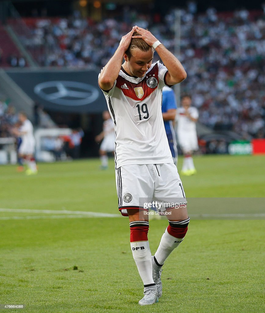 Mario Goetze of Germany reacts during the International Friendly match between Germany and USA at RheinEnergieStadion on June 10 2015 in Cologne...