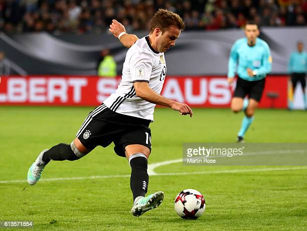 Mario Goetze of Germany runs during the FIFA 2018 World Cup Qualifier between Germany and Czech Republic at Volksparkstadion on October 8 2016 in...
