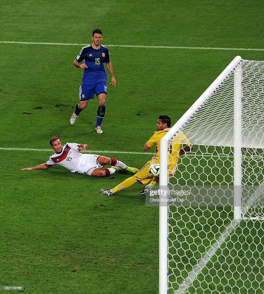 Mario Goetze of Germany scores the opening goal past Sergio Romero of Argentina during the 2014 World Cup Final match between Germany and Argentina at Maracana Stadium on July 13, 2014 in Rio de Janeiro, Brazil.
