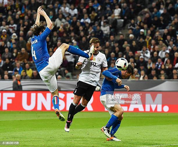 Mario Goetze of Germany scores the second goal during the International Friendly match between Germany and Italy at Allianz Arena on March 29 2016 in...