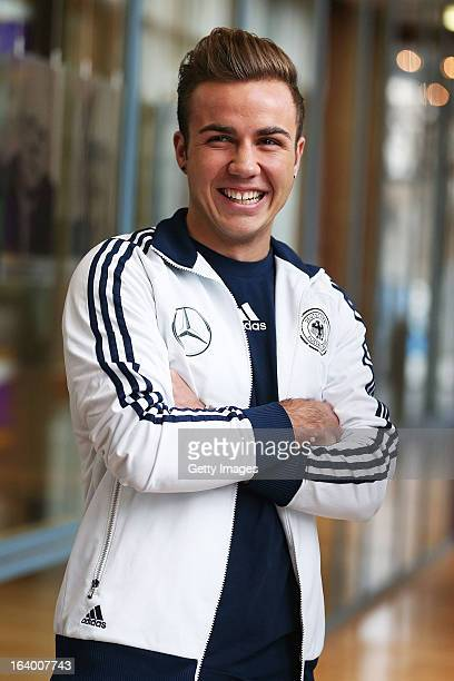 Mario Goetze of Germany smiles prior to a press conference at the DFB headquarter on March 19 2013 in Frankfurt am Main Germany